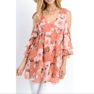 NWT JODIFL Floral Cold-Shoulder Tunic